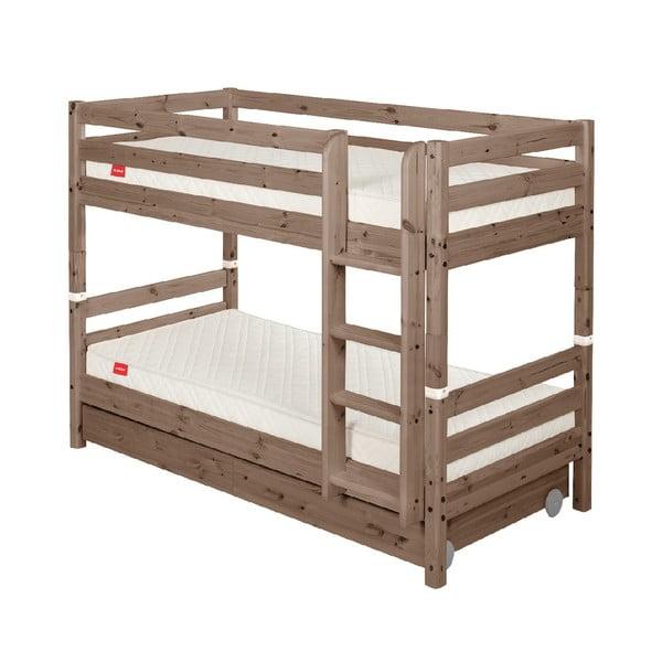 Brązowe dziecięce łóżko piętrowe z drewna sosnowego z szufladą Flexa Classic, 90x200 cm