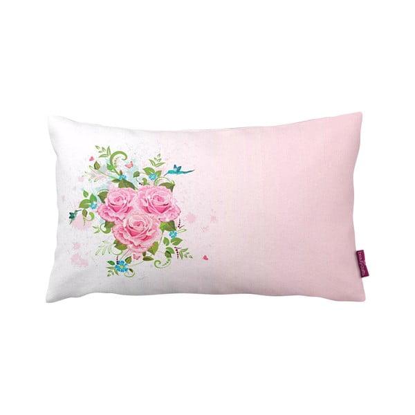 Růžovobílý polštář Homemania Deco Roses, 35x60cm