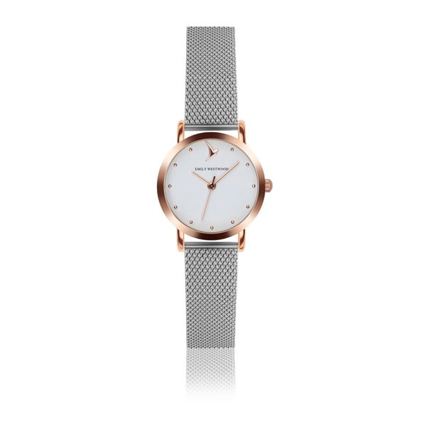 Dámske hodinky so sivým remienkom z antikoro ocele Emily Westwood Vintage