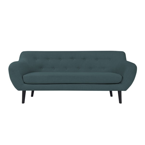 Piemont sötétkék 3 személyes kanapé barna lábakkal - Mazzini Sofas