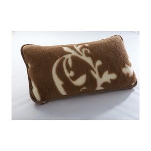 Hnědý vlněný polštář z velbloudí vlny Royal Dream Cappucino and Chocolate, 40x70 cm