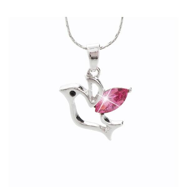 Birb rózsaszín nyaklánc Swarovski Elements kristályokkal - Laura Bruni