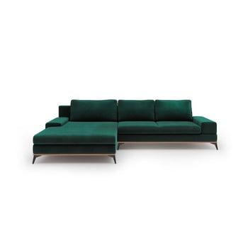 Canapea extensibilă tip colțar cu șezlong pe partea stângă Windsor & Co Sofas Astre, verde de la Windsor & Co Sofas