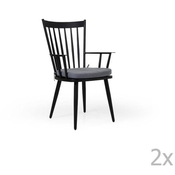 Sada 2 černých zahradních židlí Brafab Alvena