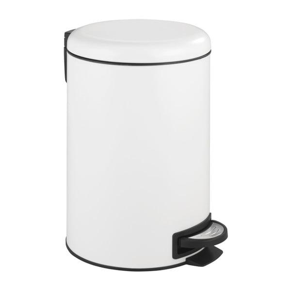 Bílý pedálový odpadkový koš Wenko Leman, 12 l
