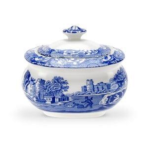 Bílomodrá porcelánová cukřenka s víčkem Spode Blue Italian, 2,5 l