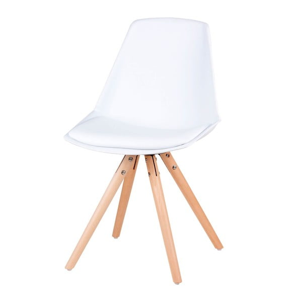 Set 4 scaune cu picioare din lemn de pin Sømcasa Bella, alb