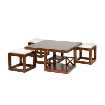 Set masă cafea și 3 scaune din lemn mindi Santiago Pons Ara de la Santiago Pons