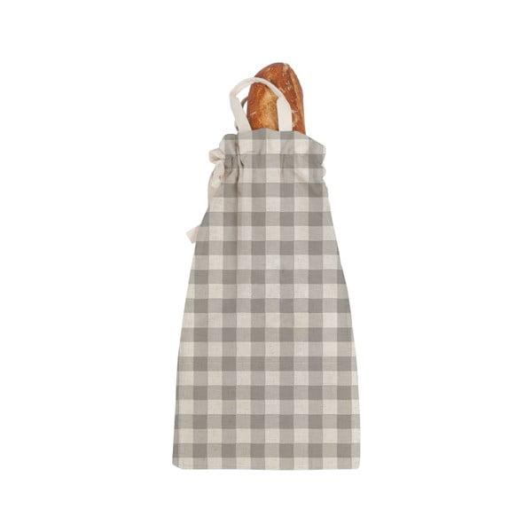 Linen Bread Bag Grey Vichy szövet, pékárutartó táska - Linen Couture