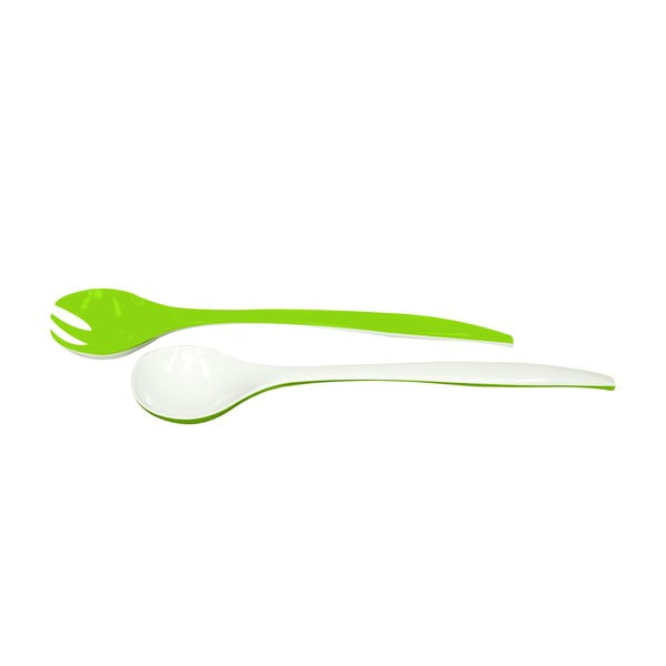 Salátový příbor Zak, zelený/bílý