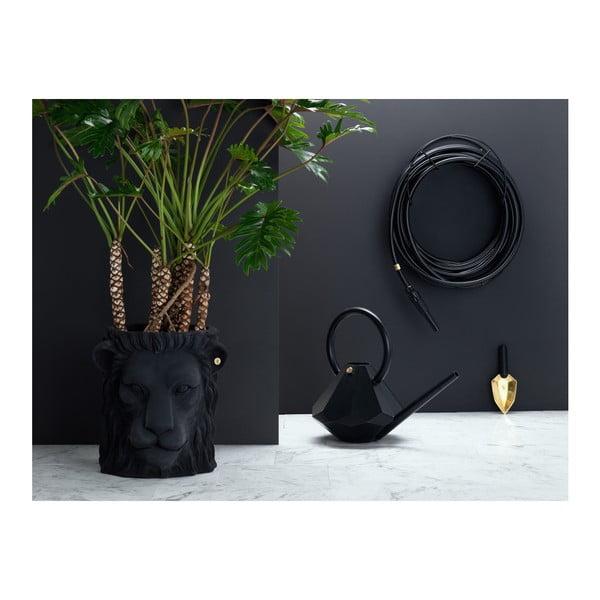 Černý květináč Garden Glory Lion, výška 40 cm