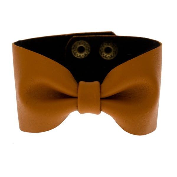Náramek Leather Bow Mocha