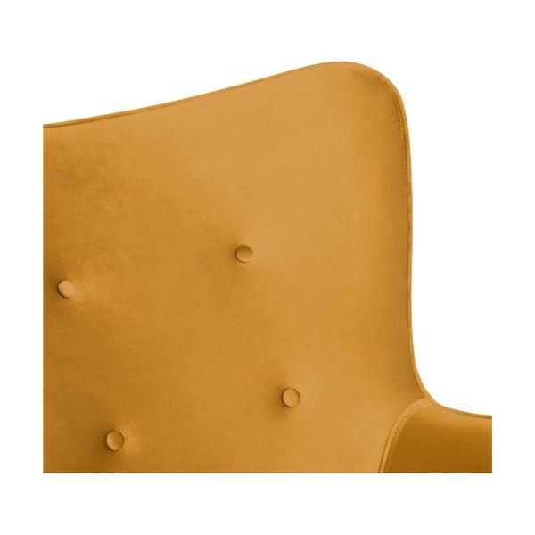 Hořčicově žluté křeslo a podnožka s podnoží v přírodní barvě Vivonita Cora Velvet