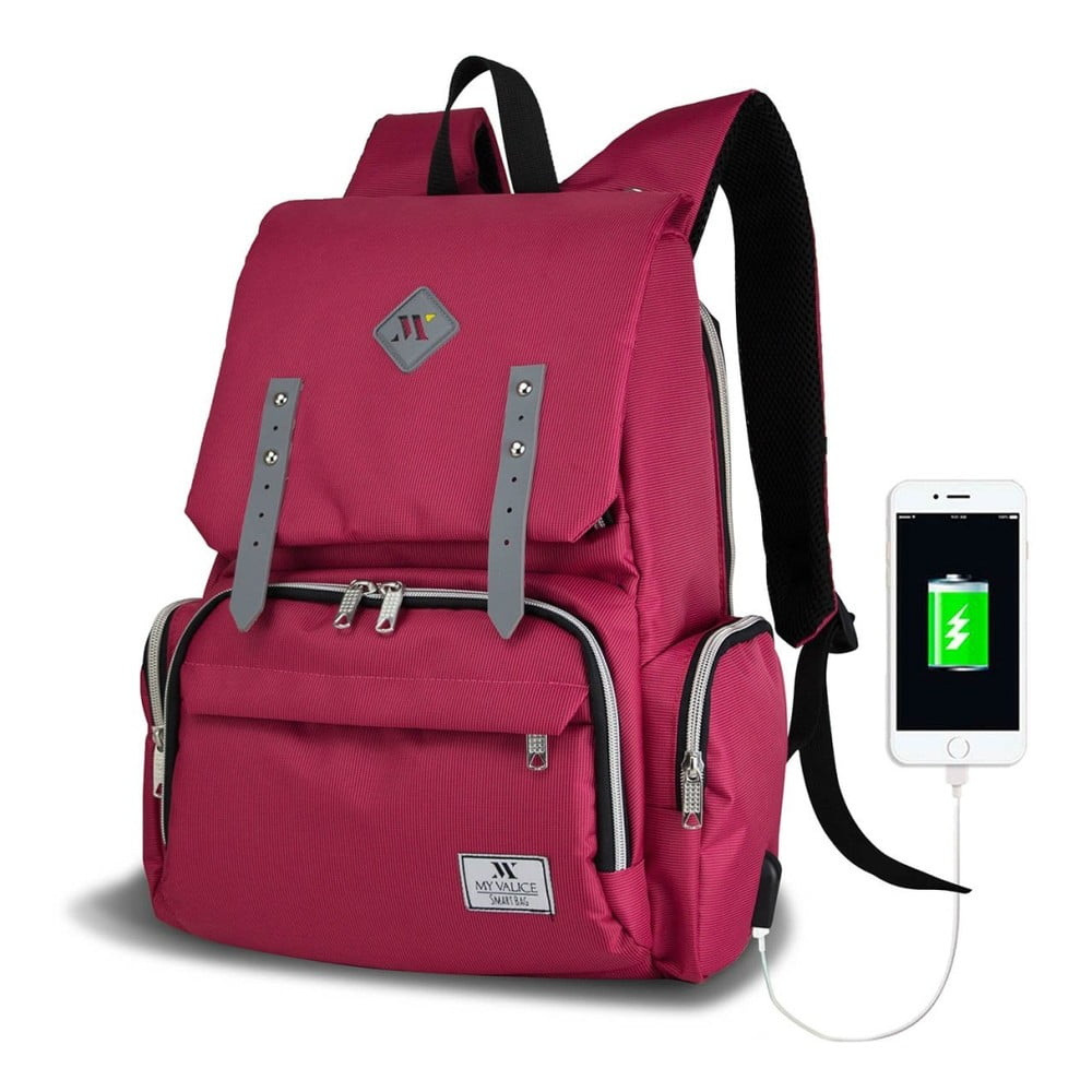 Fuchsiový batoh pro maminky s USB portem My Valice MOTHER STAR Baby Care Backpack