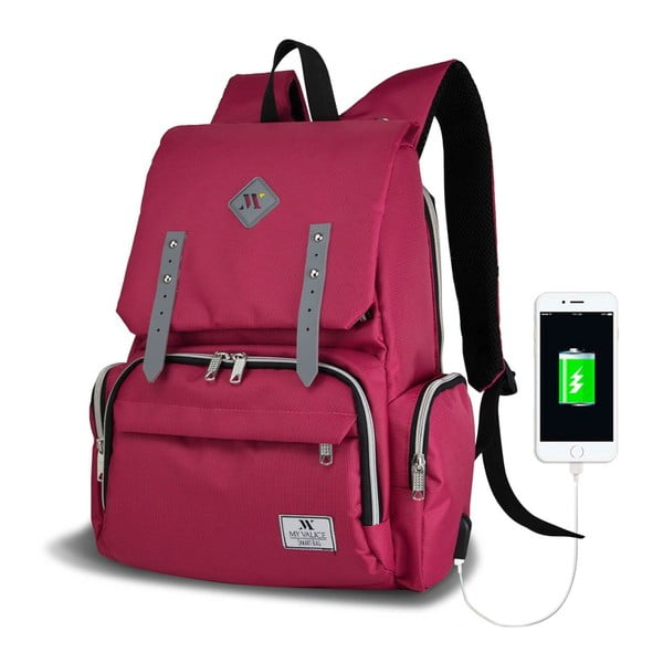 Fuksjowy plecak dla mam z USB My Valice MOTHER STAR Baby Care Backpack