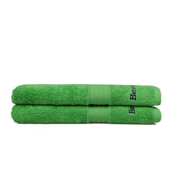 Sada dvou zelených osušek Beverly Hills Polo Club, 137x71cm