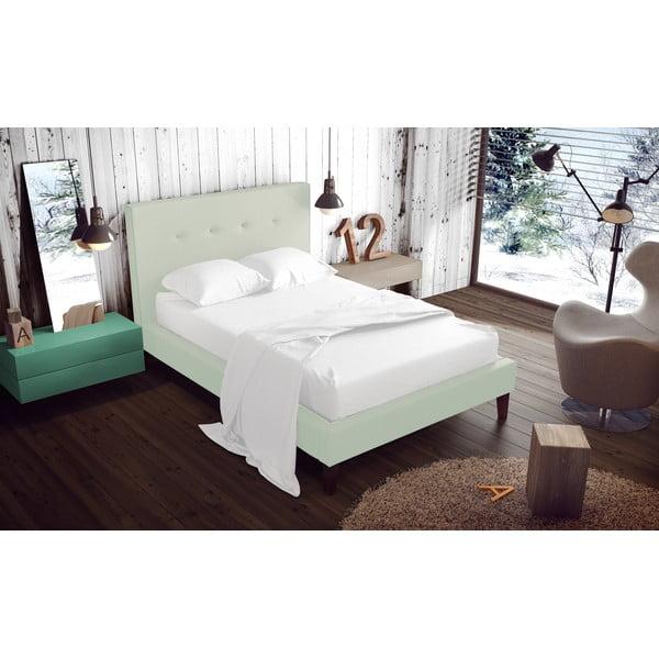 Pastelově zelená postel s přírodními nohami Vivonita Kent,180x200cm