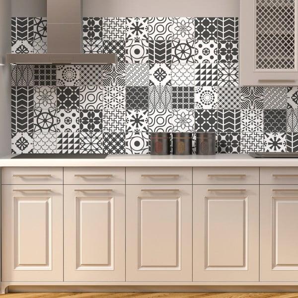 Zestaw 24 naklejek ściennych Ambiance Wall Decal Cement Tile Gray Lindos, 10x10 cm