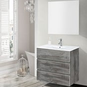 Koupelnová skříňka s umyvadlem a zrcadlem Nayade, vintage dekor, 70 cm