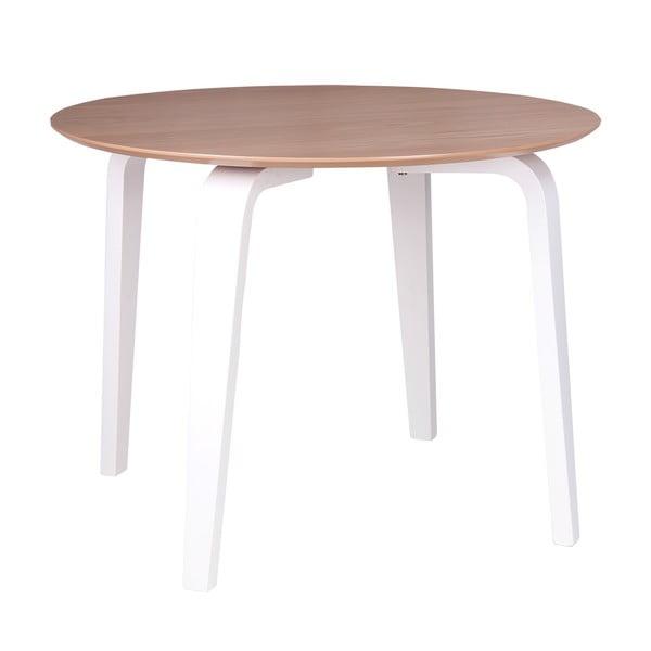 Nora barna étkezőasztal fehér lábakkal, ø 100 cm - sømcasa