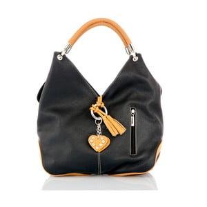 Černá kožená kabelka s detaily v koňakově hnědé barvě Glorious Black Amy