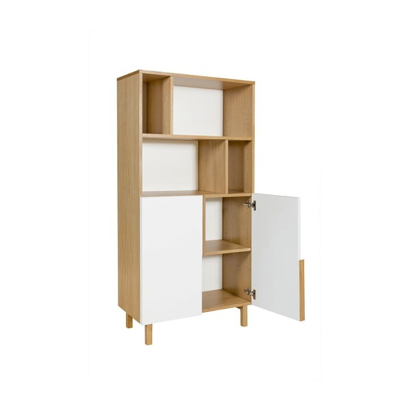 Bílá knihovna z dubového dřeva s 2 dvířky We47 Saga