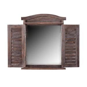 Hnědé dřevěné zrcadlo Mendler Shabby