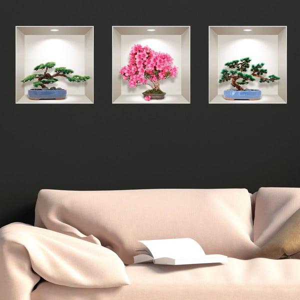 Sada 3 3D samolepek na zeď Ambiance Natural and Colorful Bonsai