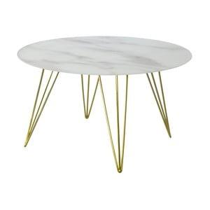 Mramorový odkládací stolek s podnožím v dekoru mosazi RGE Sevilla