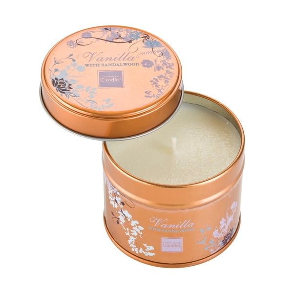 Aroma svíčka v plechovce Copenhagen Candles  Vanilla with Sandalwood, doba hoření 32 hodin