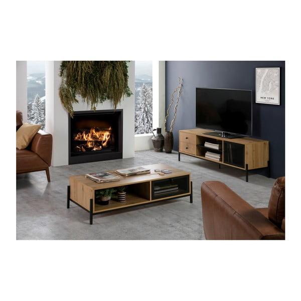 Hnědá TV komoda z borovicového dřeva Marckeric Andy, šířka 144 cm