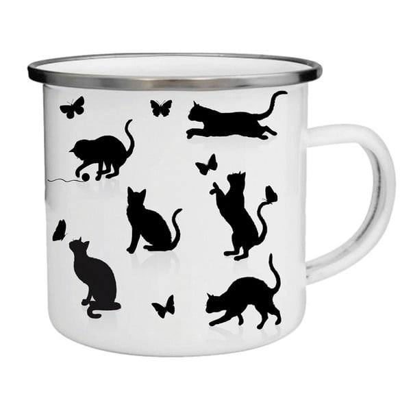 Smaltovaný hrnek s kočkami TinMan, 200 ml