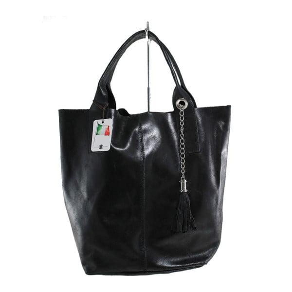 Čierna kožená kabelka Chicca Borse Toti