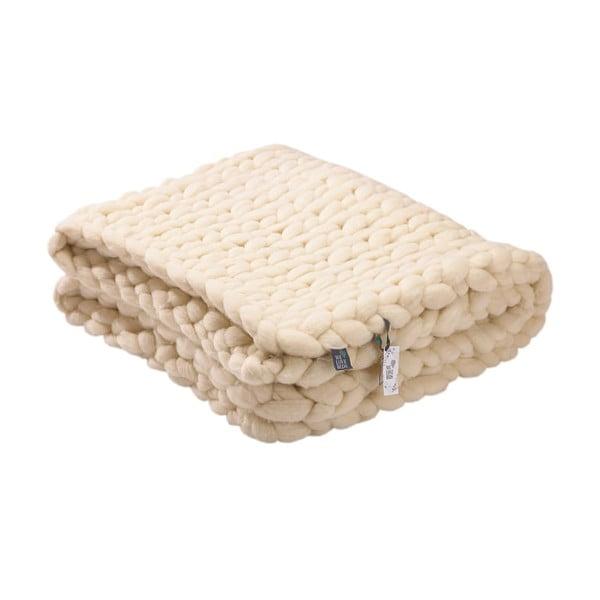 Pled tricotat manual din lână merino WeLoveBeds, 180 x 140 cm, crem