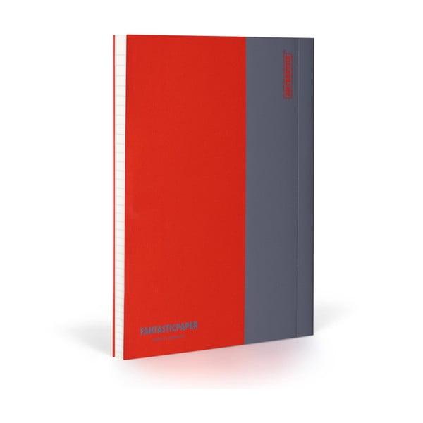 Zápisník FANTASTICPAPER XL Cherry/Grey, řádkovaný