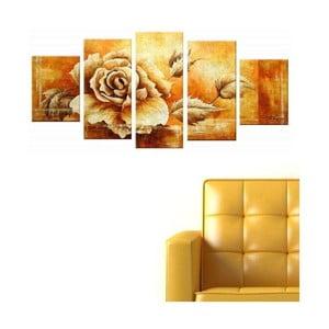 5dílný obraz Gold Rose