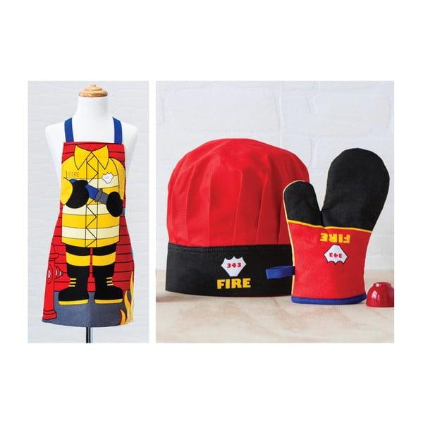 Dětská sada zástěry, čepice a kuchyňské rukavice Fireman