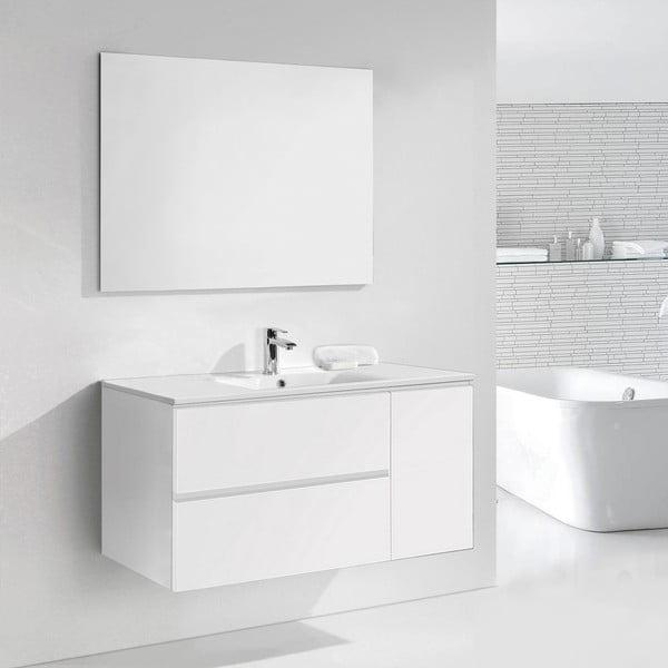 Koupelnová skříňka s umyvadlem a zrcadlem Happy, odstín bílé, 120 cm