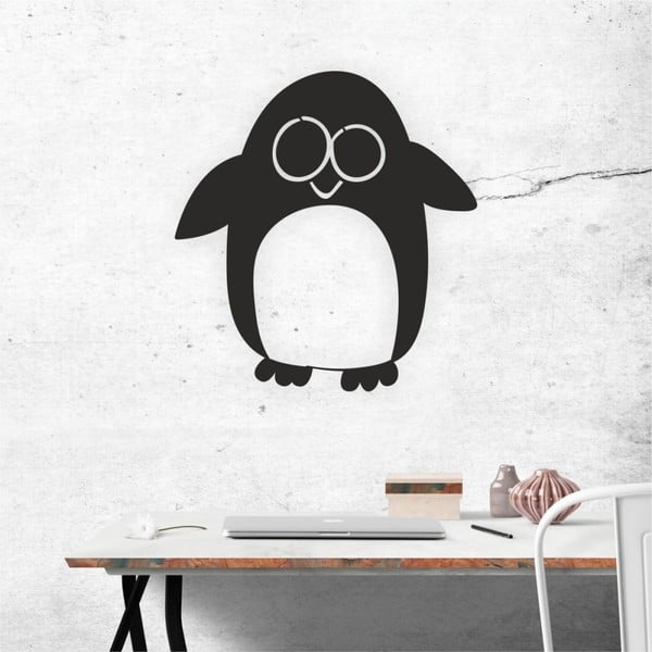 Decorațiune autoadeziva pentru perete, negru, North Carolina Scandinavian Home Decors Penguin V2, 52 x 55 cm