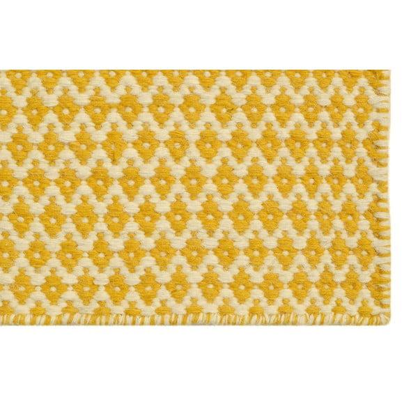 Ručně tkaný koberec Yellow and Beige Kilim, 160x227 cm