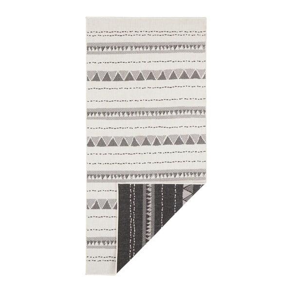 Covor pentru exterior Bougari Bahamas, 80 x 250 cm, negru-crem