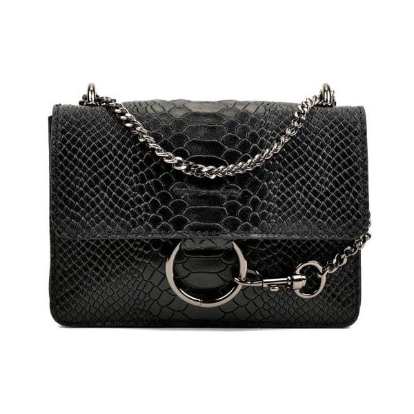 Čierna kožená kabelka Carla Ferreri Matio