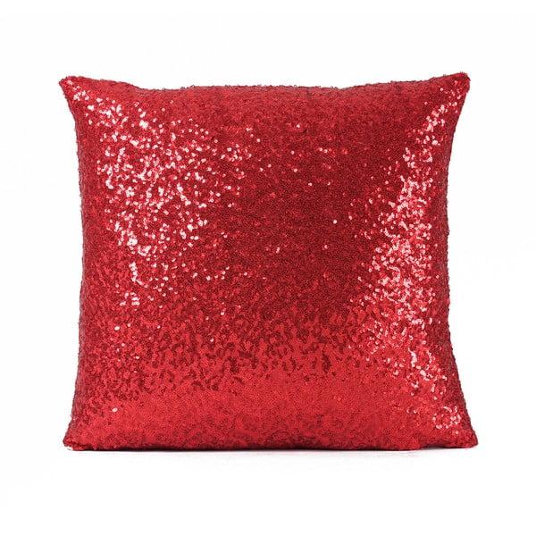 Flitrovaný polštář Shiny Red, 43x43 cm