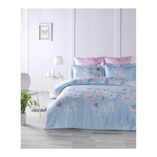 Lenjerie de pat din bumbac satinat și cearșaf Cielo, 200 x 220 cm
