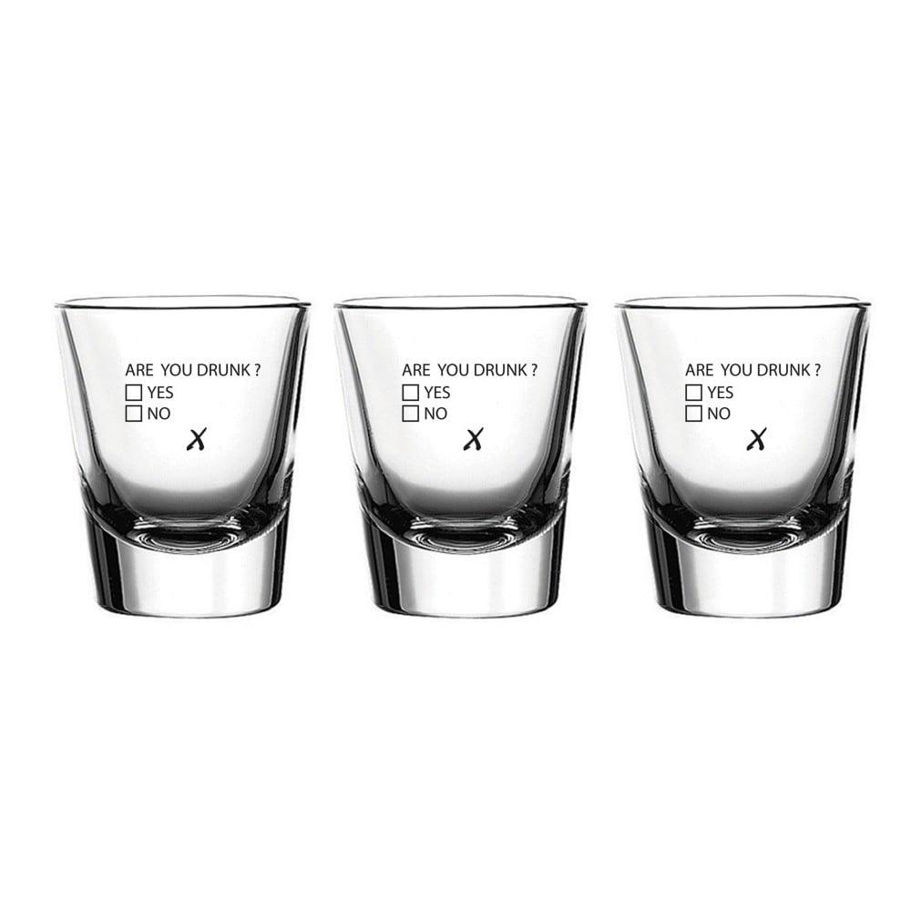 Sada 3 sklenic Vivas Shot Are You Drunk, 60 ml