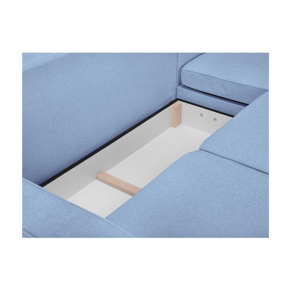 Světle modrá rozkládací čtyřmístná pohovka Mazzini Sofas Jonquille, pravý roh