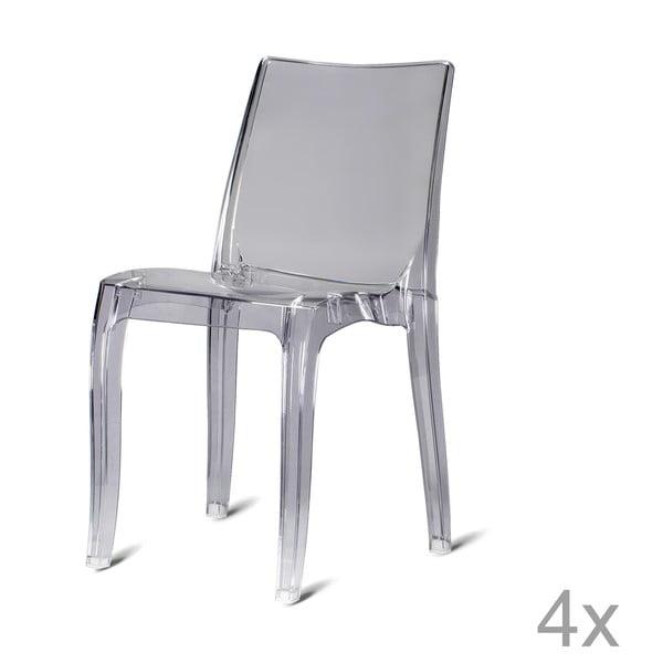 Sada 4 plastových židlí Kobe