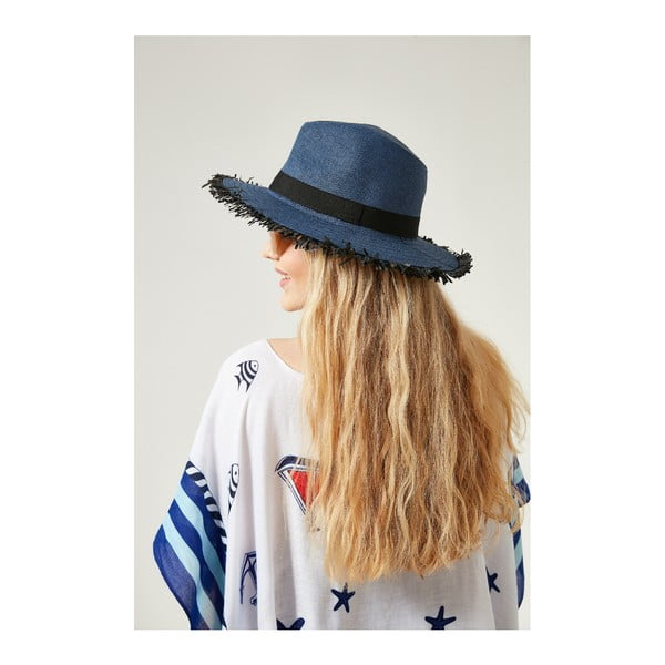 Tmavomodrý dámsky slamený klobouk Alexander McKensey Strap