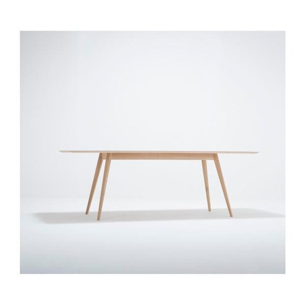 Jídelní stůl z masivního dubového dřeva se zelenou deskou Gazzda Linn, 220x90cm