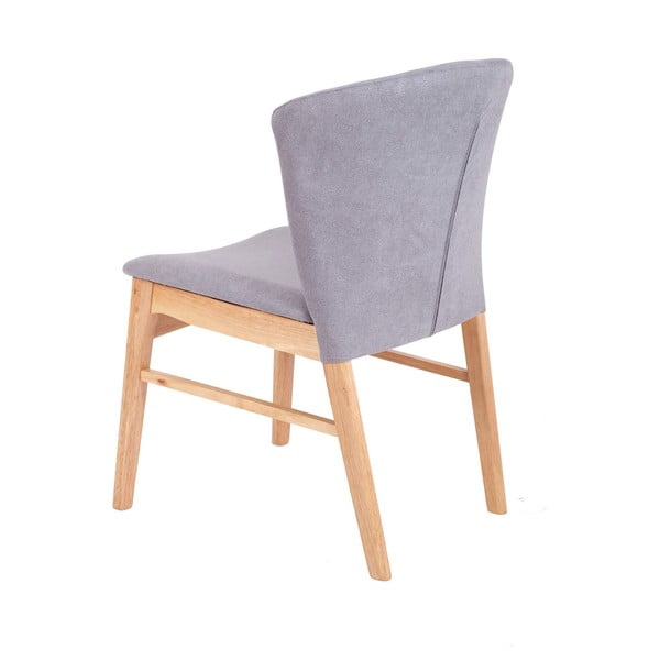 Set 2 scaune cu picioarele maro deschis din lemn de cauciuc sømcasa Mara, gri